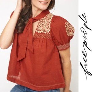 Free People NWT Boho Embroidered Puff Sleeve Top S